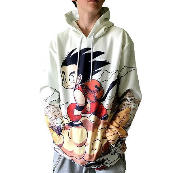 Anime Merchandise M / Cream Dragon Ball Z Hoodie - Vintage Look with Kid Goku riding Cloud Nimbus Pullover Hoodie