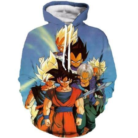 Anime Merchandise M / Blue Dragon Ball Z Hoodie - Z Fighters Pullover Hoodie