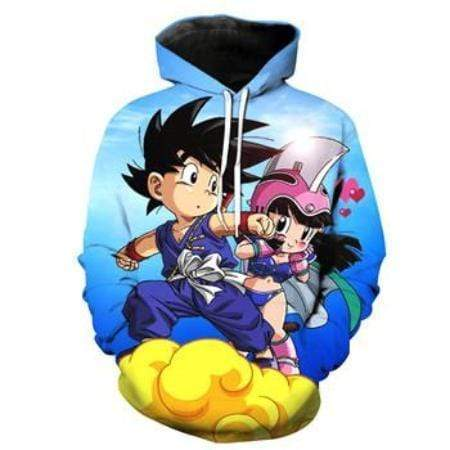 Anime Merchandise M / Blue Dragon Ball Z Pullover Hoodie - Kid Goku with Chi-Chi flying on Nimbus Pullover Hoodie