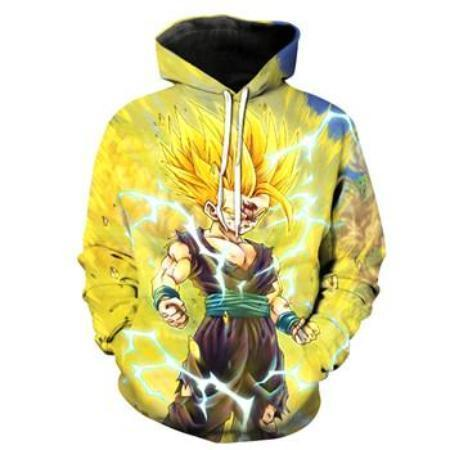 Anime Merchandise M / Yellow Dragon Ball Z Pullover Hoodie - Powerful Super Saiyan Goku Pullover Hoodie