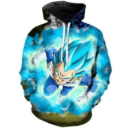 Anime Merchandise M / Black Dragon Ball Z Pullover Hoodie - Super Saiyan Blue Vegeta Attacking Pullover Hoodie