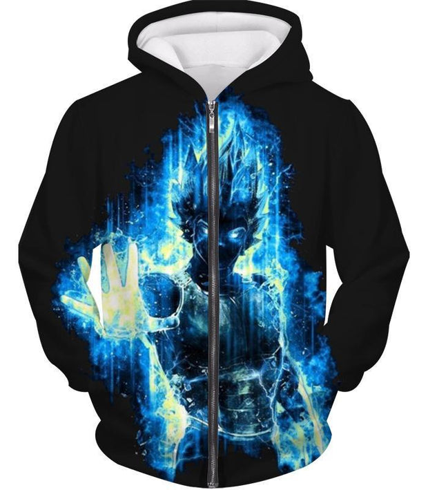 OtakuForm-OP Zip Up Hoodie Zip Up Hoodie / XXS Dragon Ball Z Zip Up Hoodie - Super Saiyan Blue Vegeta Flash Hoodie