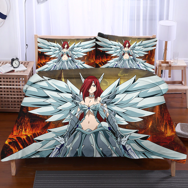 Fairytail Bedset TWIN Erza Heavens Wheel Armor Bedset - Fairy Tail 3D Printed Bedset