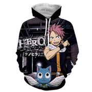 Fairytail Hoodie XXS Fairy Tail Happy Hoodie - Natsu Talking Cat 3D Graphic Fairy Tail Hoodie