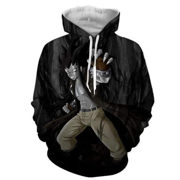 Fairytail Hoodie XXS Fairy Tail Hoodie - Gajeel Iron Black Magic Dragon 3D Graphic Hoodie