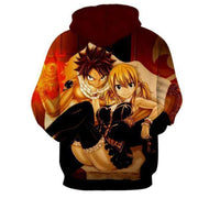 Fairytail Hoodie XXS Fairy Tail Hoodie - Natsu And Lucy Sitting Fairy Tail Merchandise