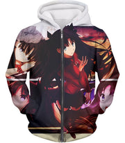 OF2 T-Shirt Zip Up Hoodie / US XXS (Asian XS) Fate Stay Night Beautiful Rin Tohsaka and Females Fate Series T-Shirt FSN063