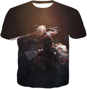 OF2 T-Shirt T-Shirt / US XXS (Asian XS) Fate Stay Night Cool Saber Alter Arturia Browm Action T-Shirt FSN064
