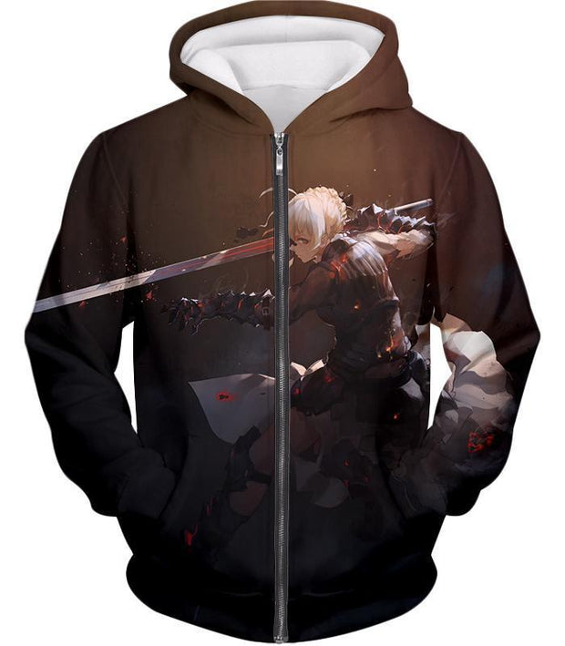 OF2 T-Shirt Zip Up Hoodie / US XXS (Asian XS) Fate Stay Night Cool Saber Alter Arturia Browm Action T-Shirt FSN064