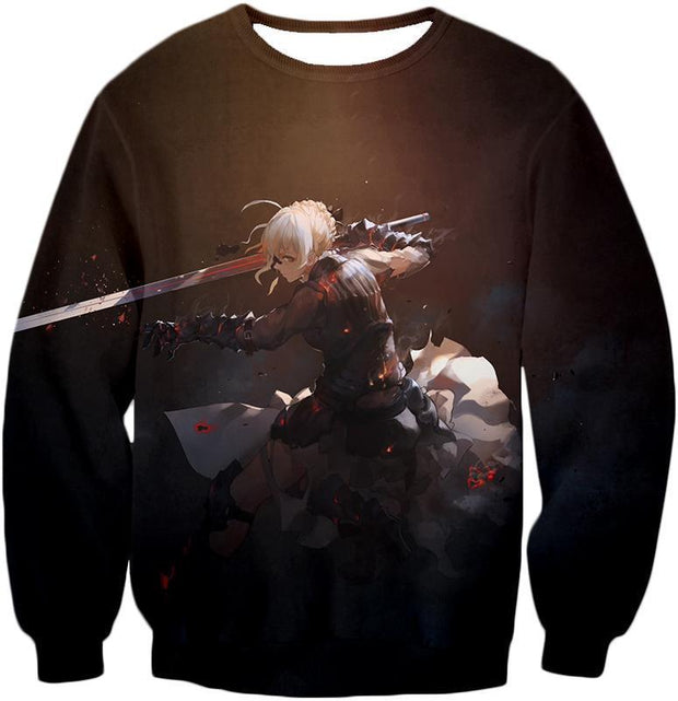OF2 T-Shirt Sweatshirt / US XXS (Asian XS) Fate Stay Night Cool Saber Alter Arturia Browm Action T-Shirt FSN064
