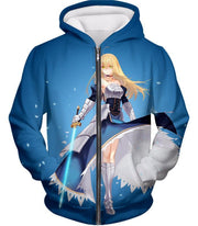 OF2 T-Shirt Zip Up Hoodie / US XXS (Asian XS) Fate Stay Night Legendary Warrior Arturia Pendragon aka King Arthur T-Shirt FSN065