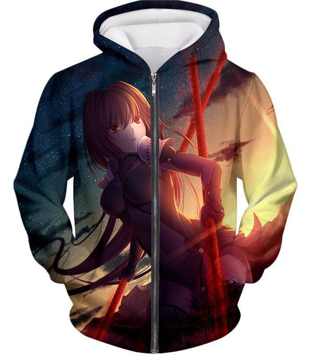 OF2 T-Shirt Zip Up Hoodie / US XXS (Asian XS) Fate Stay Night Powerful Rider Scathach Action T-Shirt FSN060