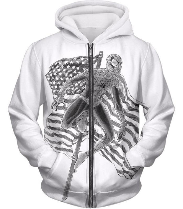 OtakuForm-OP T-Shirt Zip Up Hoodie / XXS Favourite American Hero Spiderman Sketch White T-Shirt