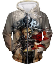 OtakuForm-OP T-Shirt Zip Up Hoodie / XXS Fullmetal Alchemist Amazing Elrich Brothers Edward x Alphonse Awesome Anime Art T-Shirt