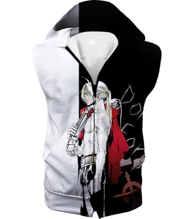 OtakuForm-OP Hoodie Hooded Tank Top / XXS Fullmetal Alchemist Cool Alchemist Edward Elrich Amazing Black and White Anime Hoodie