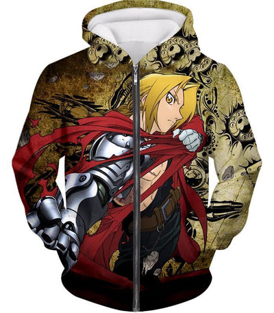 OtakuForm-OP Zip Up Hoodie Zip Up Hoodie / XXS Fullmetal Alchemist Powerful Alchemist Edward Elrich Featuring Automail Right Hand Zip Up Hoodie