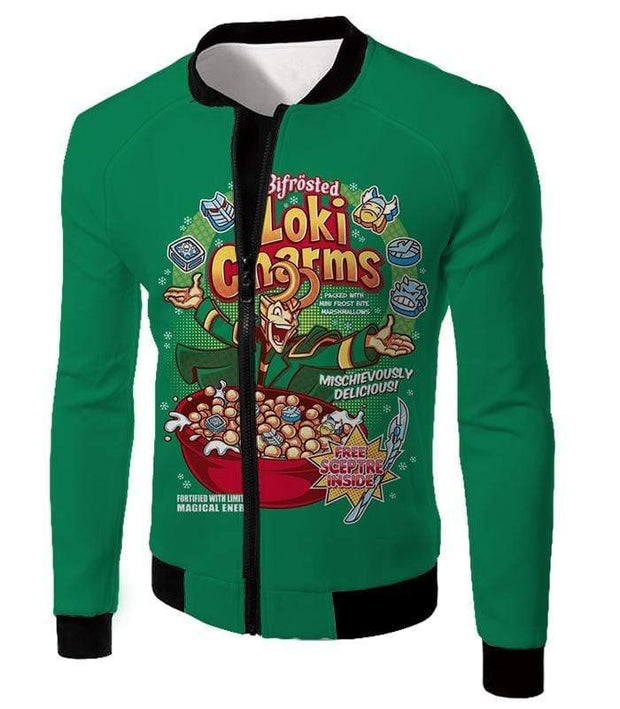 OtakuForm-OP Sweatshirt Jacket / XXS Funny Lokis Cornflakes Advertisement Green Sweatshirt