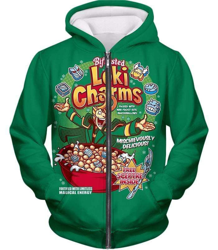 OtakuForm-OP Sweatshirt Zip Up Hoodie / XXS Funny Lokis Cornflakes Advertisement Green Sweatshirt
