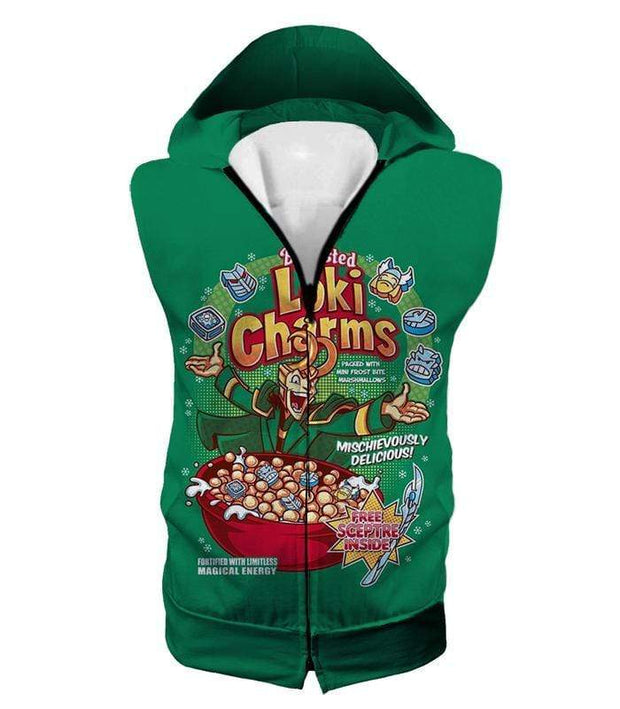 OtakuForm-OP Zip Up Hoodie Hooded Tank Top / XXS Funny Lokis Cornflakes Advertisement Green Zip Up Hoodie