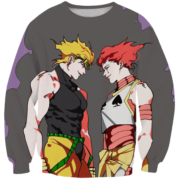 OF-HN1 Anime XS / Sweatshirt Hisoka and Dio Hoodie - Hunter x Hunter x JoJo's Adventure Hoodie