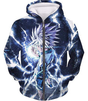 OtakuForm-OP Sweatshirt Zip Up Hoodie / XXS Hunter X Hunter Killua Zoldyck Lightning Sweatshirt - HXH 3D Sweatshirts And Clothing Sweatshirt