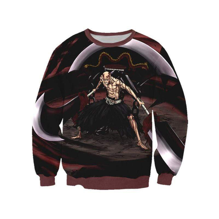 OtakuForm-Bleach Sweatshirt XXS Ikkaku Madarame Red Sweatshirt - Bleach 3D Printed Sweatshirt