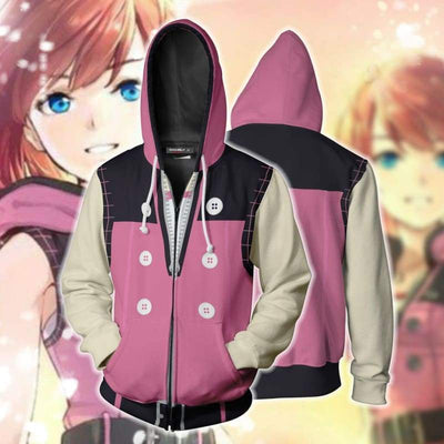 OtakuForm-OP Cosplay Jacket Zip Up Hoodie / XS Kingdom Hearts III Kairi Pink Zip Up Hoodie Jacket