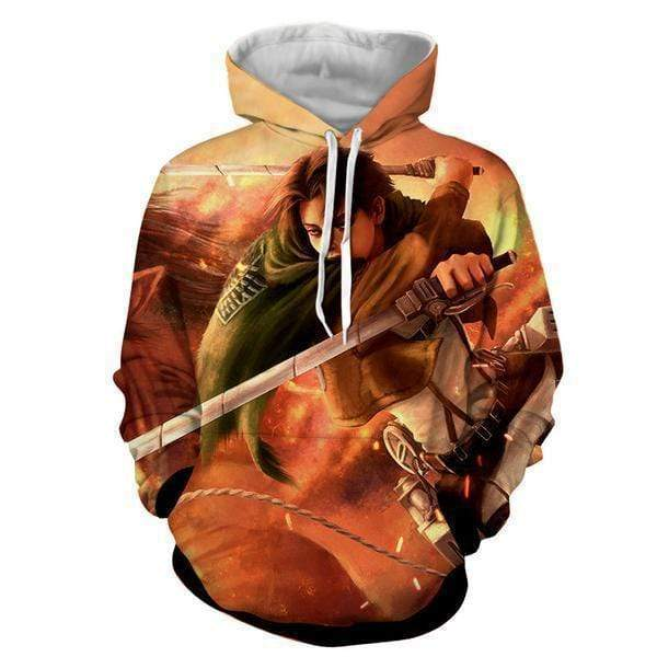 a8103602 Levi Ackerman Double 3D Blades Hoodie - AOT Attack On Titan Clothes Hoodie
