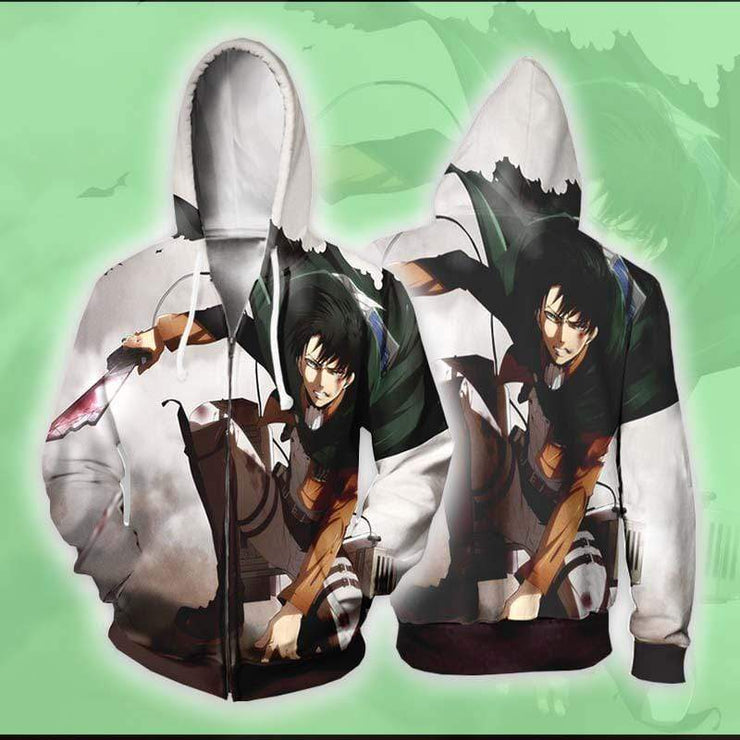 Attack On Titan Zip Up Hoodie XXS / Zip Up Hoodie Levi Ackerman Lands Hoodie - Attack on Titan Zip Up Hoodie Jacket