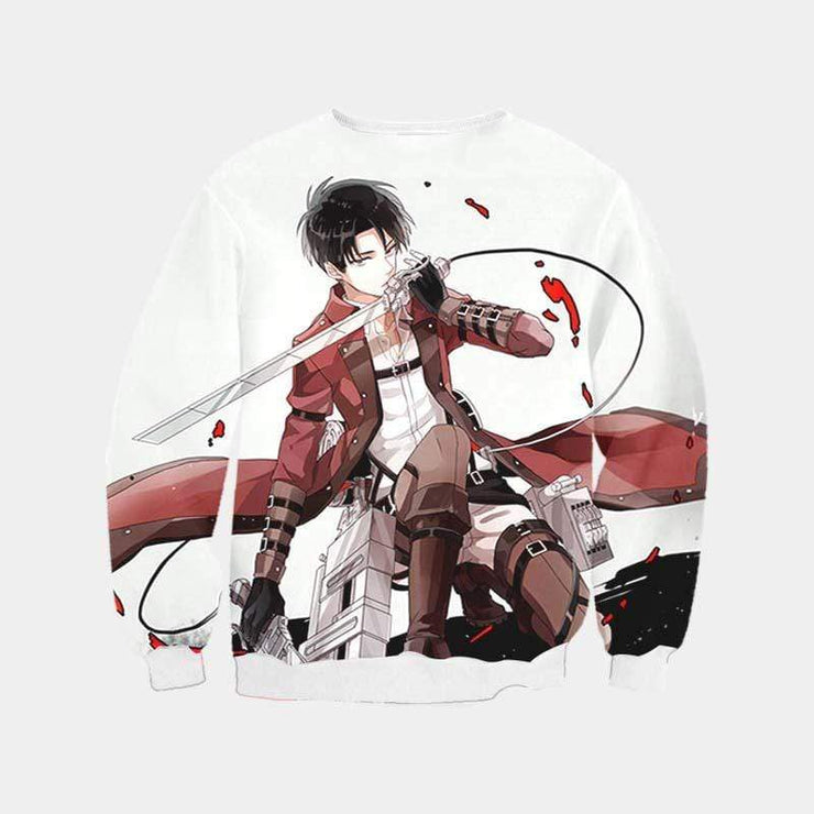 Attack On Titan Sweatshirt XXS / Sweatshirt Levi Doing an Epic Pose Sweatshirt - Attack on Titan 3D Printed Sweatshirt