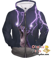 OtakuForm-OP T-Shirt Zip Up Hoodie / XXS Lightning Cat T-Shirt