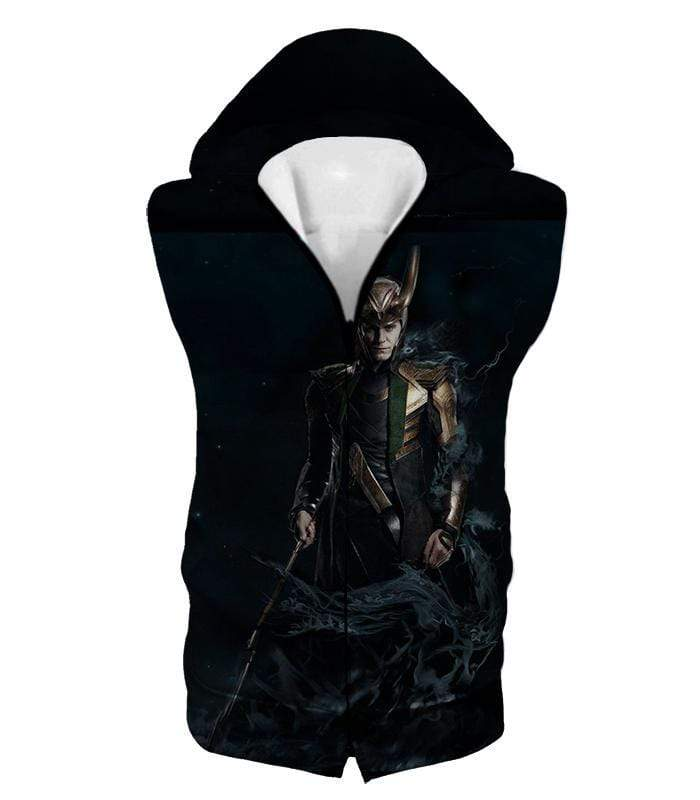 OtakuForm-OP Sweatshirt Hooded Tank Top / XXS Loki Odinson the Asgardian Cool Black Action Sweatshirt