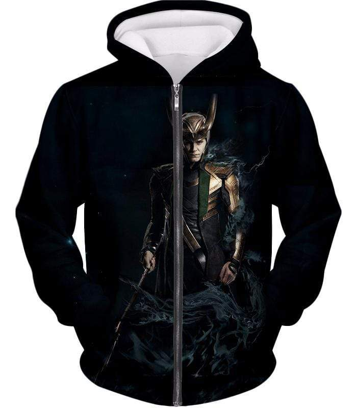 OtakuForm-OP Sweatshirt Zip Up Hoodie / XXS Loki Odinson the Asgardian Cool Black Action Sweatshirt