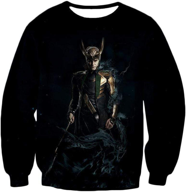 OtakuForm-OP Zip Up Hoodie Sweatshirt / XXS Loki Odinson the Asgardian Cool Black Action Zip Up Hoodie