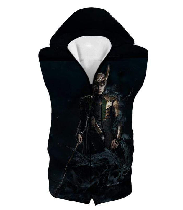 OtakuForm-OP Zip Up Hoodie Hooded Tank Top / XXS Loki Odinson the Asgardian Cool Black Action Zip Up Hoodie
