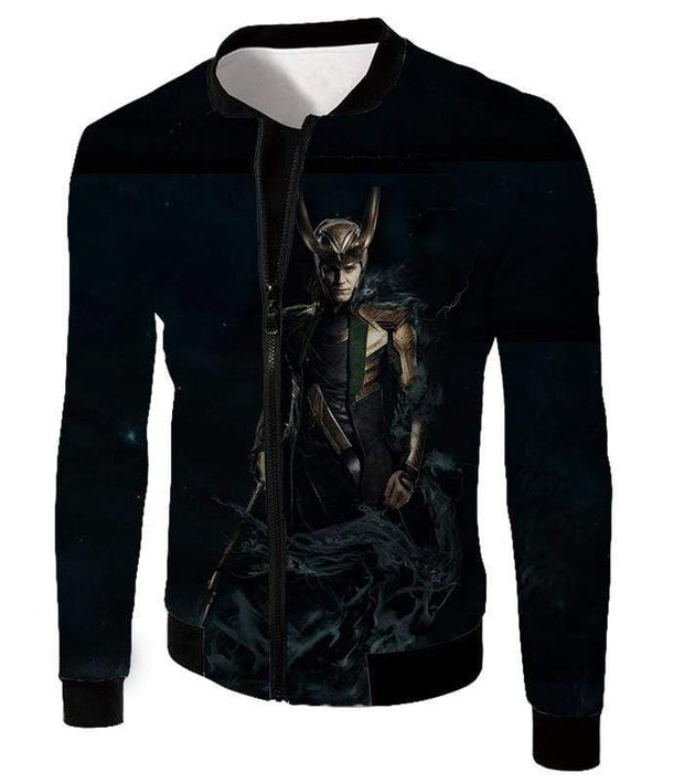 OtakuForm-OP Zip Up Hoodie Jacket / XXS Loki Odinson the Asgardian Cool Black Action Zip Up Hoodie