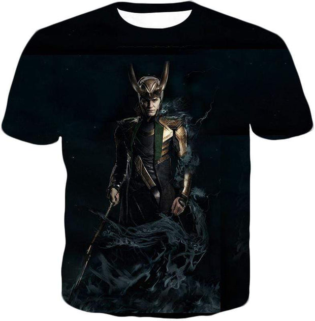 OtakuForm-OP Zip Up Hoodie T-Shirt / XXS Loki Odinson the Asgardian Cool Black Action Zip Up Hoodie