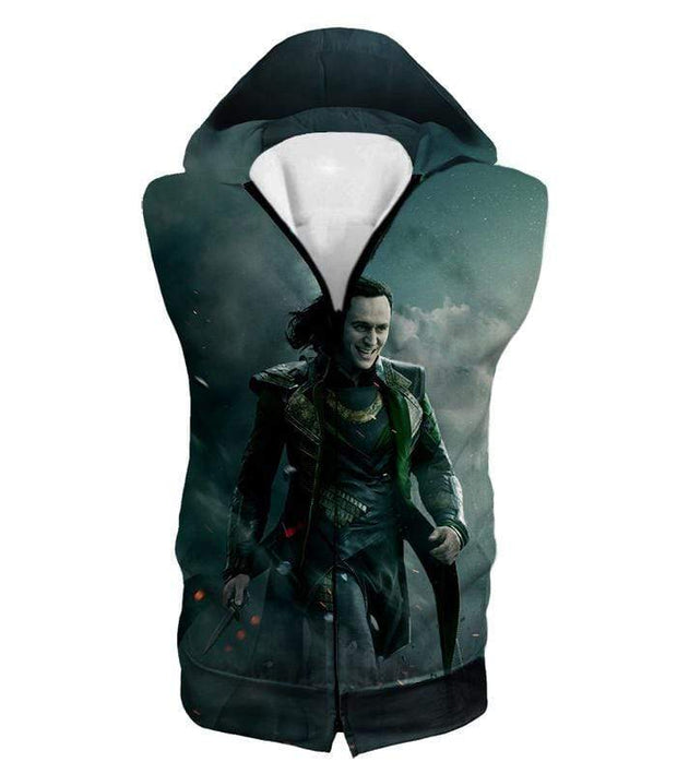 OtakuForm-OP Sweatshirt Hooded Tank Top / XXS Loki Odinson the War Criminal Avengers Promo Action Sweatshirt