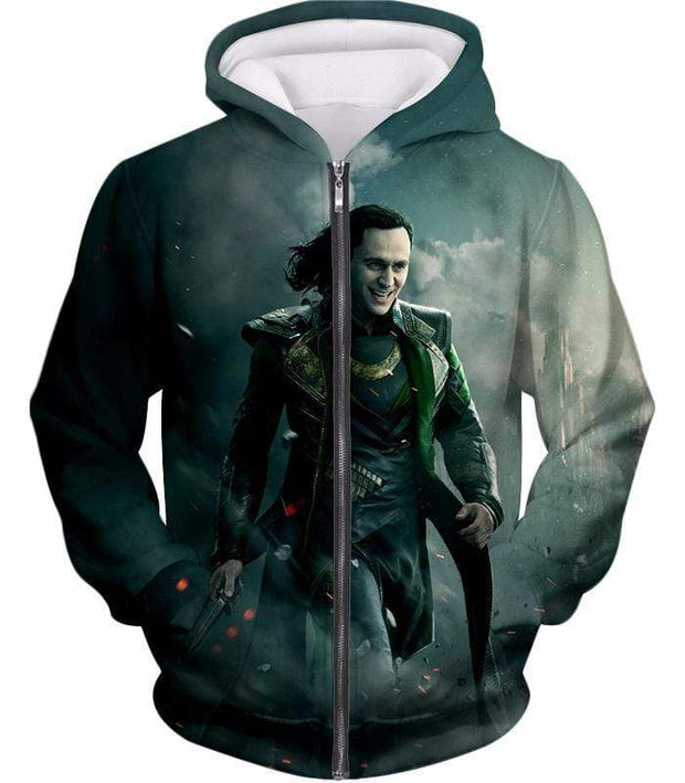 OtakuForm-OP Sweatshirt Zip Up Hoodie / XXS Loki Odinson the War Criminal Avengers Promo Action Sweatshirt