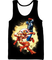 OtakuForm-OP T-Shirt Tank Top / XXS Marvel Comic Heroes Captain America Vs Iron Man Black T-Shirt