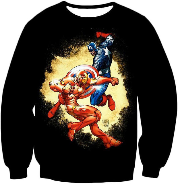 OtakuForm-OP T-Shirt Sweatshirt / XXS Marvel Comic Heroes Captain America Vs Iron Man Black T-Shirt