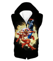 OtakuForm-OP T-Shirt Hooded Tank Top / XXS Marvel Comic Heroes Captain America Vs Iron Man Black T-Shirt