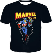 OtakuForm-OP T-Shirt T-Shirt / XXS Marvel Comics Promo Ultimate Hero Captain America Black Action T-Shirt