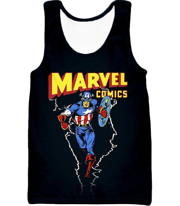 OtakuForm-OP T-Shirt Tank Top / XXS Marvel Comics Promo Ultimate Hero Captain America Black Action T-Shirt
