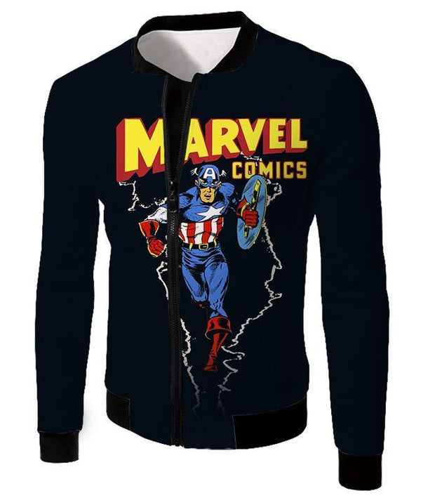 OtakuForm-OP T-Shirt Jacket / XXS Marvel Comics Promo Ultimate Hero Captain America Black Action T-Shirt