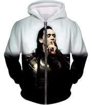 OtakuForm-OP Sweatshirt Zip Up Hoodie / XXS Marvels God of Mischief Loki Awesome Black White Sweatshirt
