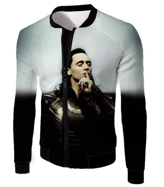 OtakuForm-OP Zip Up Hoodie Jacket / XXS Marvels God of Mischief Loki Awesome Black White Zip Up Hoodie