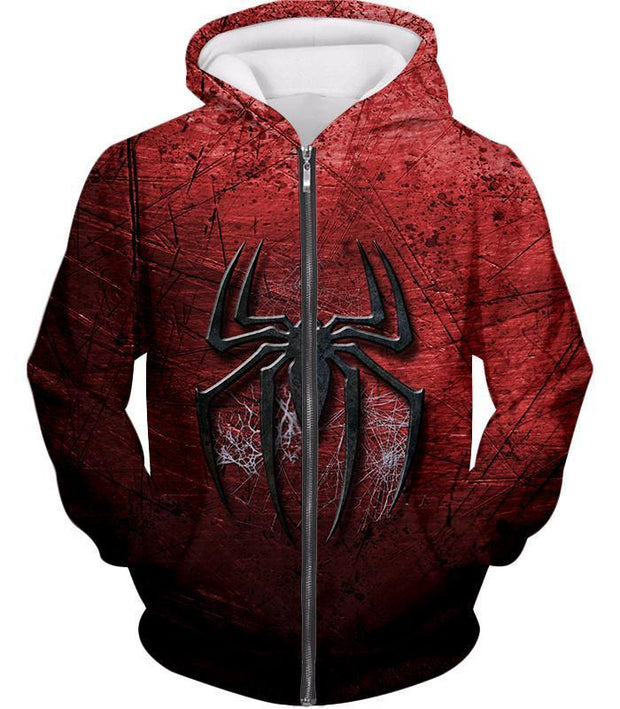 OtakuForm-OP T-Shirt Zip Up Hoodie / XXS Marvels Ultimate Spiderman Logo Cool Scratched Red T-Shirt