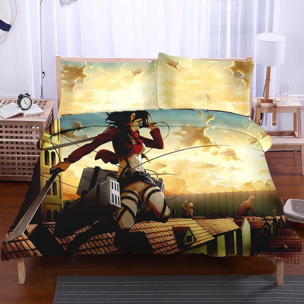 Attack On Titan Bedset TWIN Mikasa Ackerman Sky Fighting - Attack On Titan 3D Printed Bedset