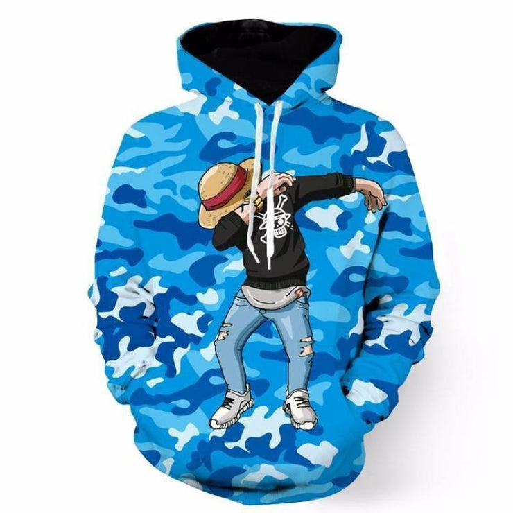 One Piece Hoodie XXS Monkey D.Luffy  Hoodie - One Piece Camo Camouflage Dab Dance  3D Graphic Hoodie